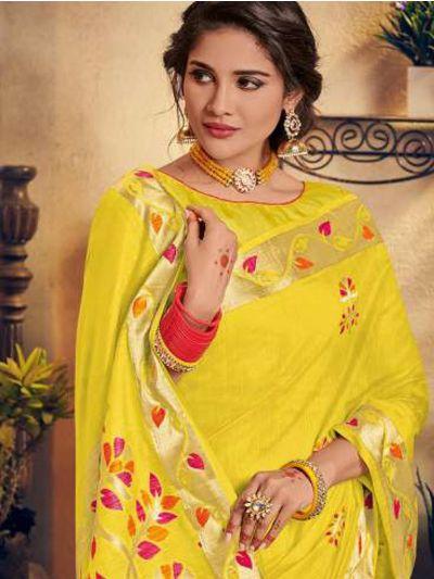 Kathana Embroidery Linen Cotton Saree - KCS1006