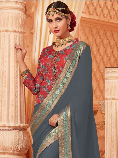 Kathana Fancy Chiffon Saree-MED9186735