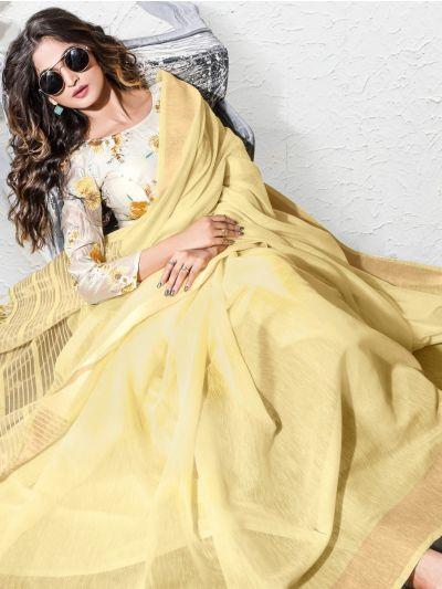 Double Blouse Exclusive Linen Cotton Saree
