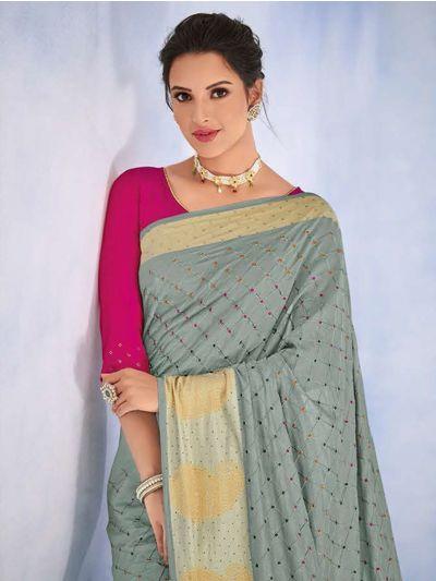 Kathana Fancy Raw Silk With Stone Work Saree-MYR1156