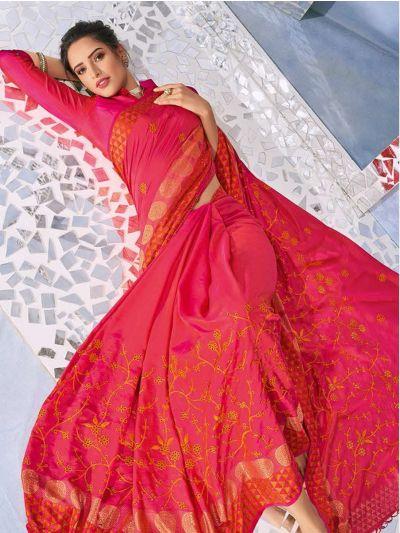 Kathana Fancy Raw Silk With Stone Work Saree-MYR1159