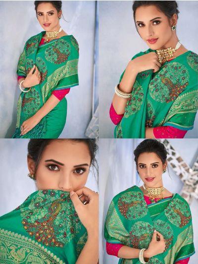 Kathana Fancy Raw Silk With Stone Work Saree-MYR1162