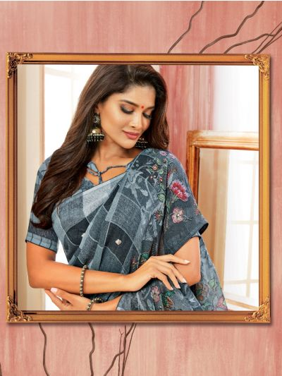 Kathana Fancy Semi Jute Saree - AVIV13991