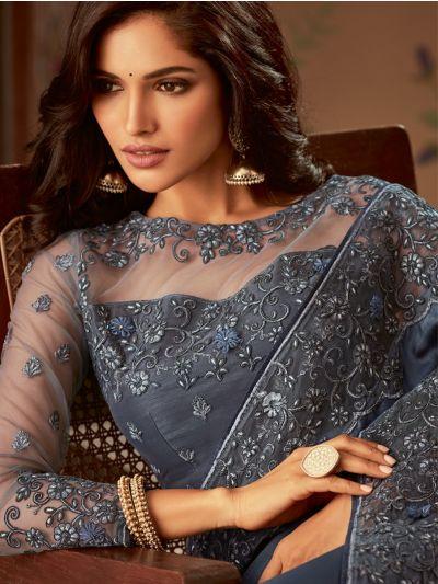 Sahithyam Designer Party Wear Satin Saree