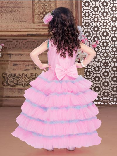Sivasankari Babu Exclusive Girls Netted Long Frock With Patch Work - MIA3093112