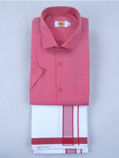 KKV Cotton Half Sleeve Shirts & Fancy Border Dothi