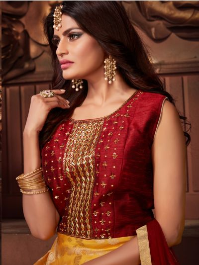 Kyathi Silk Jacquard Embroidery Readymade Anarkali Salwar Kameez - MFB6270954