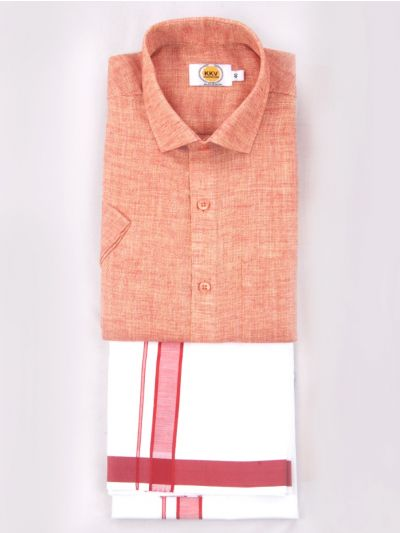 KKV Cotton Half Sleeve Shirts & Fancy Border Dothi - KKVC2004