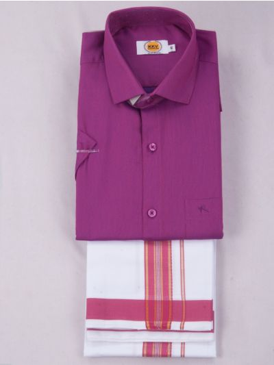 KKV Cotton Half Sleeve Shirts & Fancy Border Dothi - KKVC2026