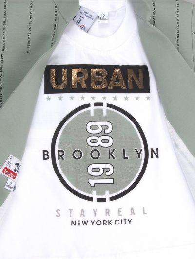 Boys Full Sleeves Blazer With Print Tee - BCS2243