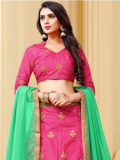 Women's Embroidered Dull Satin Lehenga Choli