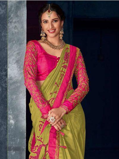 Kathana Fancy Raw Silk Embroidery Saree