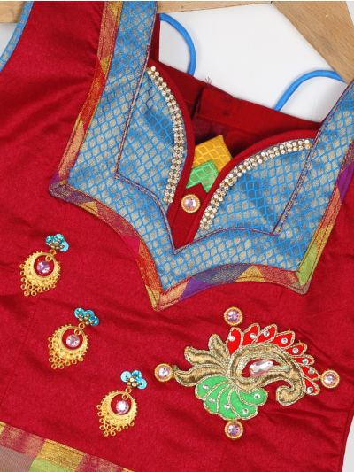 Girls Ready Made Art Silk Pavadai Set - GPP5006