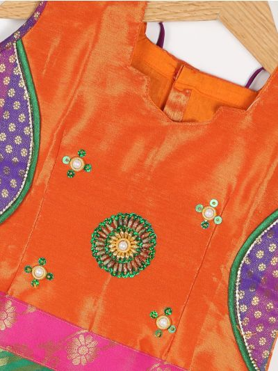 Girls Ready Made Art Silk Pavadai Set - GPP5008