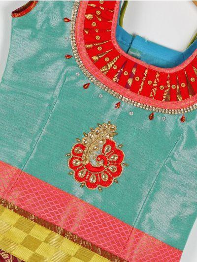 Girls Ready Made Art Silk Pavadai Set - GPP5009