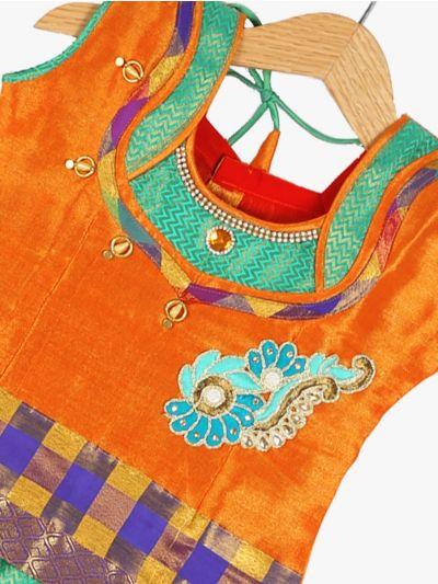Girls Ready Made Art Silk Pavadai Set - GPP5010