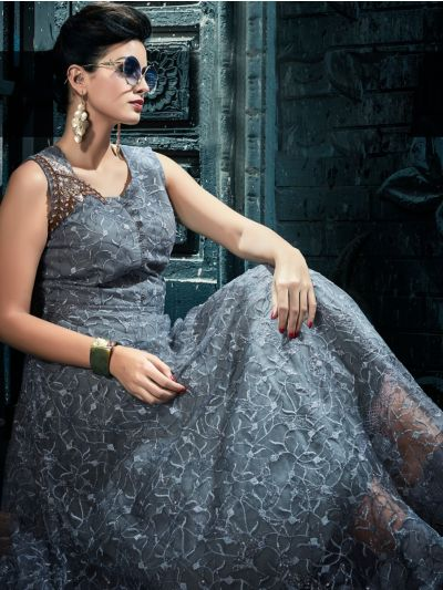 Kyathi Women's Netted Handwork Readymade Salwar Kameez - JACQ5055