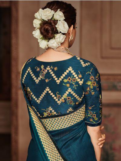 Exclusive Designer Party Wear Saree With Designer Blouse - SKK705