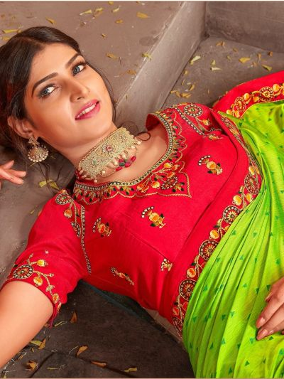 Kathana Cotonic Chiffon Patch work Fancy Saree