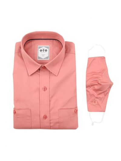 ZF Men's Readymade Casual Cotton Shirt With Matching Color Mask - EKM