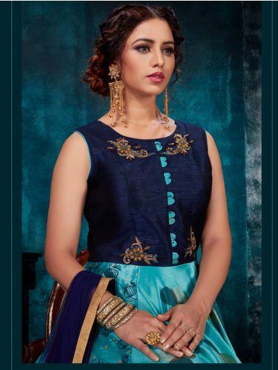 Kyathi Chanderi Semi Silk Readymade Anarkali Salwar Kameez - A-OO2