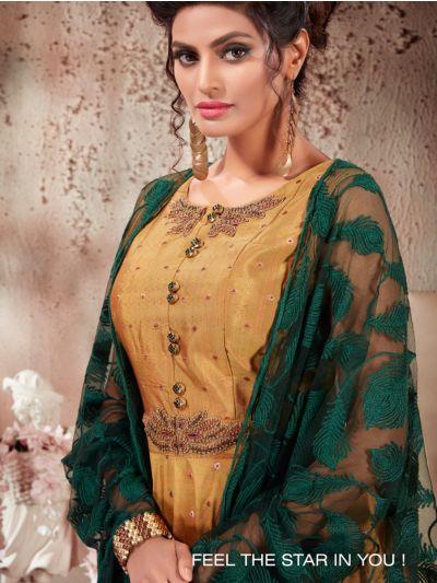 Kyathi Bangalore Slub Silk Readymade Anarkali Salwar Kameez -A02