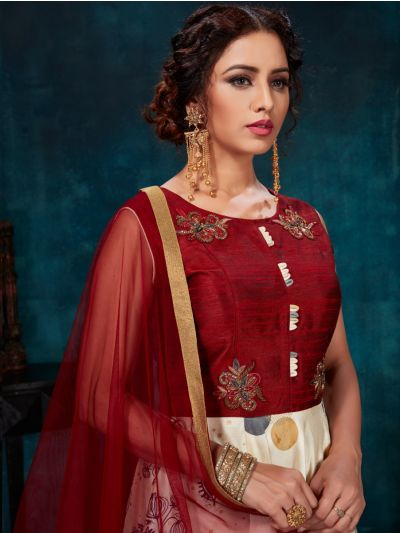 Kyathi Chanderi Semi Silk Readymade Anarkali Salwar Kameez - A-OO5