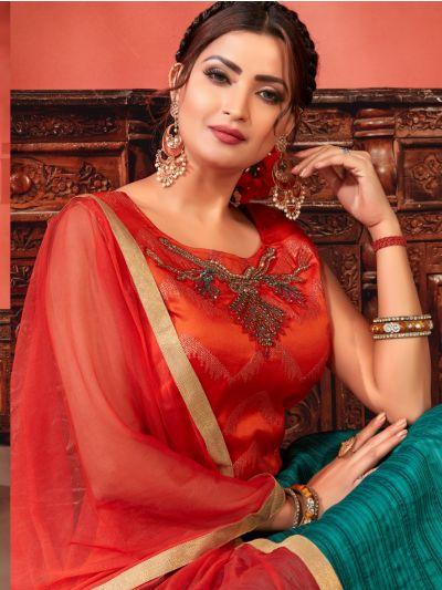 Kyathi Chendari Semi Silk Readymade Anarkali Salwar Kameez -J03