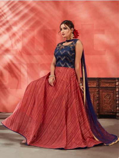 Kyathi Chendari Semi Silk Readymade Anarkali Salwar Kameez -MFB6270986