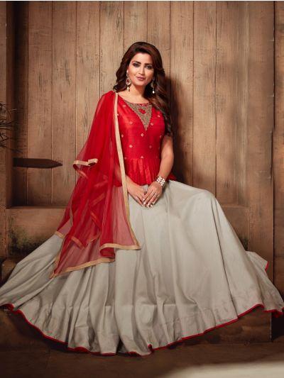 Kyathi Semi Silk Readymade Anarkali Salwar Kameez - MFB6270966