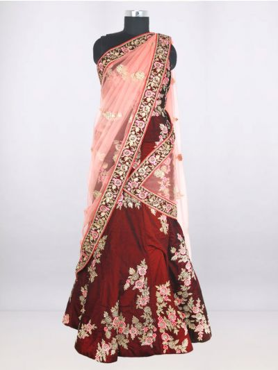 Embroidered Net Lehenga Style Embellished Saree - LGB9353900