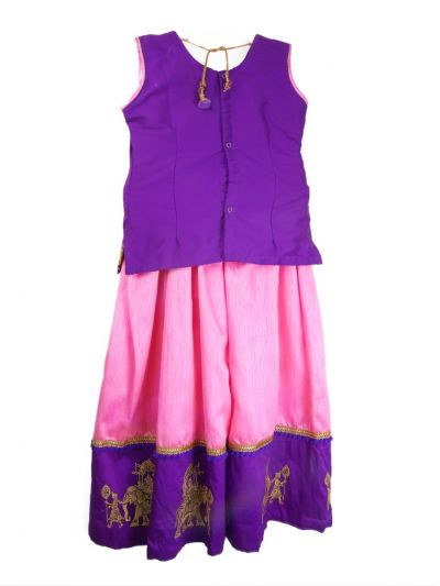 Girls Ready Made Art Silk Pavadai Set - LHD4172039