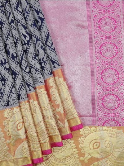 Vivaha Wedding Silver Jari Silk Saree