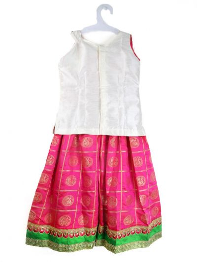 Girls Ready Made Art Silk Pavadai Set - TUPPP10