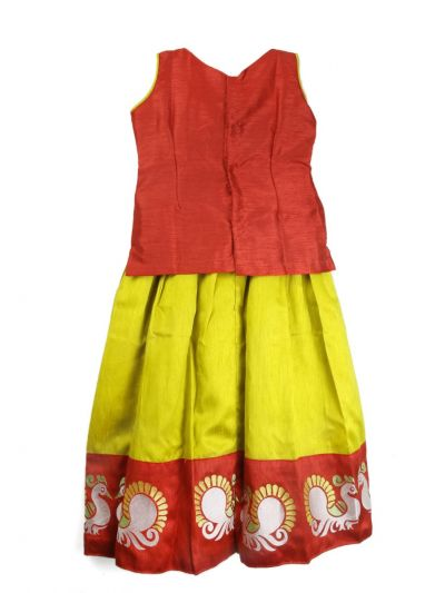 Girls Ready Made Art Silk Pavadai Set - TUPPP12