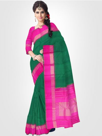 Estrila Kanchipuram Green Silk Saree