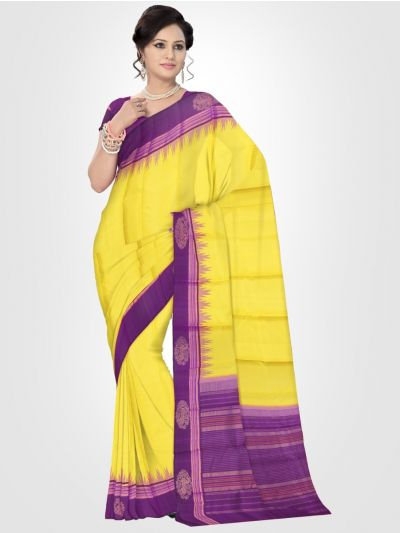 Estrila Kanchipuram Yellow Silk Saree