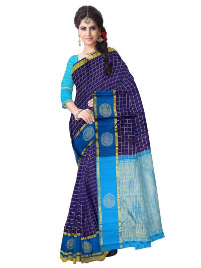 Estrila Handloom Small Checks Wedding Silk Saree
