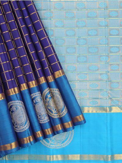 Estrila Handloom Small Checks Wedding Silk Saree
