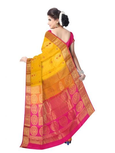 MAE4318294-Uppada Traditional Yellow Silk Saree