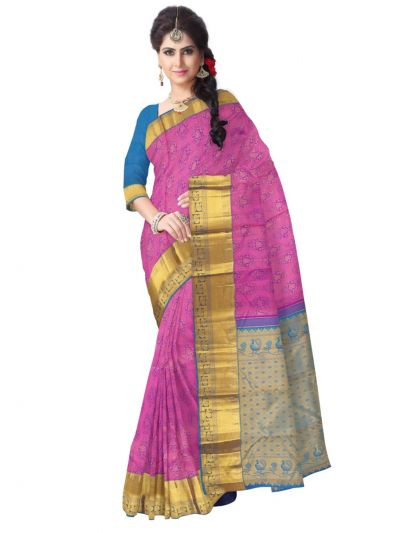 Vivaha Wedding Pink Silk Saree - MBA4726239
