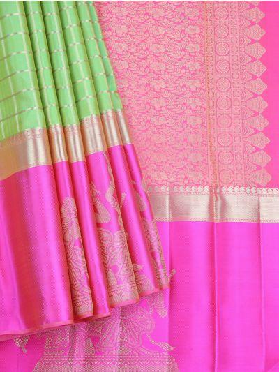 Vivaha Handloom Small Checks And Border Design Kanchipuram Silk Saree