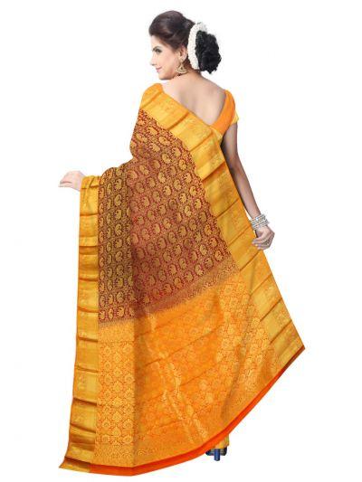 Vipanji Traditional Maroon Silk Saree