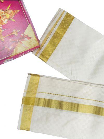 MDE3994244 - Vivaha Handloom Embossed Silk Dhoti