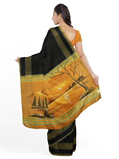 MED8115647-Kanmanie Painted Design Soft Silk Saree