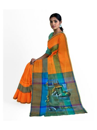 MED8115649 - Kanmanie Painted Designn Soft Silk Saree
