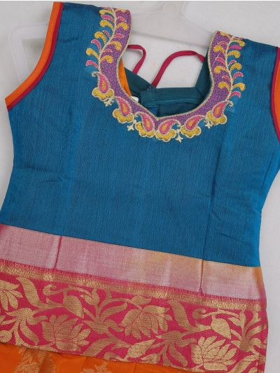 Girls Ready Made Art Silk Pavadai Set - MED8998869