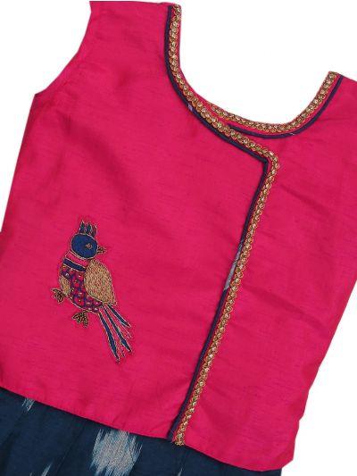 Girls Ready Made Art Silk Pavadai Set - MED9224361