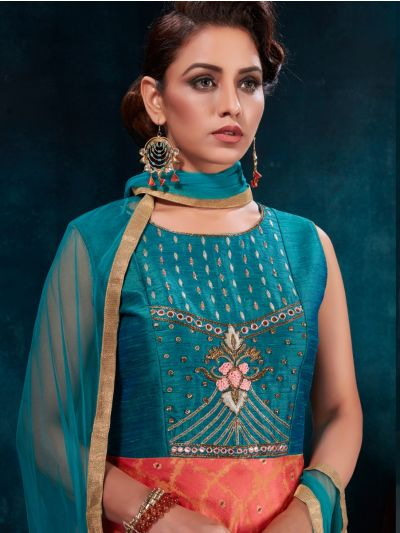Kyathi Silk Jacquard Embroidery Readymade Anarkali Salwar Kameez - MFB6270950