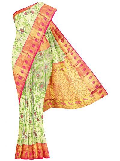 Vivaha Cream Wedding Silk Saree - OFB8739577